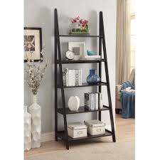 Walnut Ladder Bookcase Leaning Bookcases You U0027ll Love Wayfair