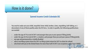 earned income credit schedule eic youtube
