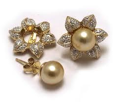 14 karat gold earrings diamond earring jackets with golden south sea pearl post earrings