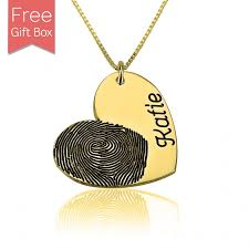 gold plate necklace images Customized fingerprint necklace gold plated heart charm engraved jpg