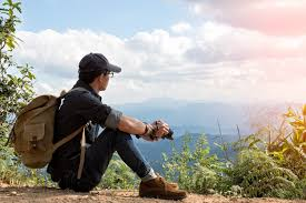 outdoor traveler images Man traveler with photo camera and backpack hiking outdoor travel jpg