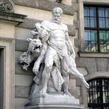 greek gods statues meet cerberus the hellhound of greek mythology