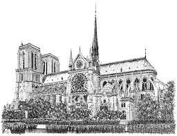 notre dame cathedral paris pen and ink line art illustration