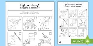 light or heavy activity sheet english italian measurement