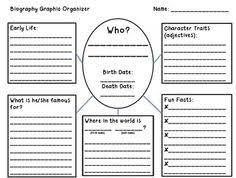 writing a biography graphic organizer biography research graphic organizer ela graphic organizers