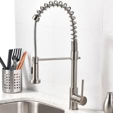 Single Handle Kitchen Faucet With Sprayer Brushed Nickel Kitchen Faucet Visionexchange Co