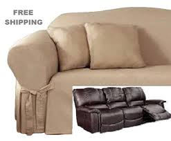Dual Reclining Sofa Slipcover Sofa Slipcover Cotton Taupe Sure Fit Dual Recliner