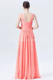 crisscross ruched light coral pink a line long chiffon bridesmaid
