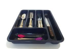 Flatware Tray Organizer 5 Part Large Plastic Cutlery Tray Flatware Organizer 10 W 14 L 2
