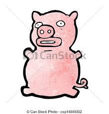 vector clipart ugly pig cartoon csp14849302