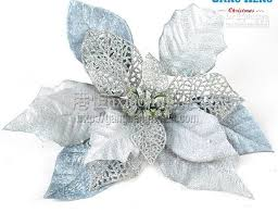 silver flowers hot sale party supplies three dimentional silver plastic christmas