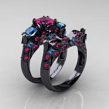 blue wedding rings astonishing pink and blue engagement ring 83 on small home remodel