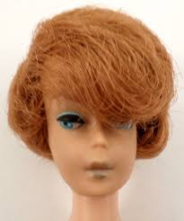 bubble cut hairstyle mattel vintage barbie doll red head side part tight bubble cut