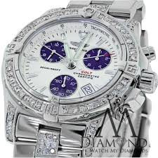 bentley breitling diamond breitling colt chronograph a73380 cream dial blue diamond mens
