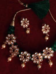 ruby necklace set images Rubans gold toned green kundan ruby necklace set jpg