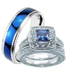 his and wedding rings his hers wedding ring set sapphire blue cz sterling silver