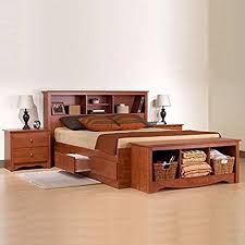 prepac monterey cherry wood platform storage bed