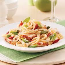 cuisiner tomates linguines au poulet asperges et tomates séchées soupers de