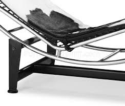 u0026 white pony leather modern chaise lounger