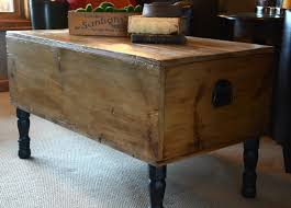 trunk coffee table lift top leather handles engineered wood