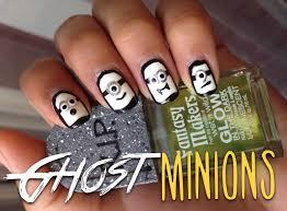 ghost minions halloween nail tutorial youtube
