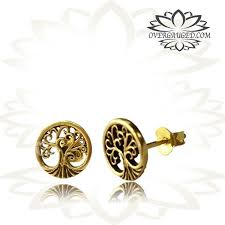 ear studs images pair brass ear studs ornate tribal tree of ear stud jewelry