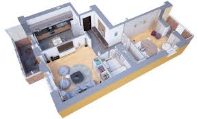 One Bedroom Studio Apartment Plans 1 House 3d Basic Rectan Luxihome