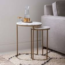 west elm round side table round nesting side tables set marble antique brass west elm uk