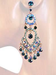 ear sense earrings earrings teal blue chandelier drop earrings
