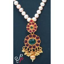 green stone necklace pendant images Traditional pearl necklace set in red and green kemp stone pendant jpg