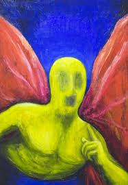 yellow angel asking you a riddle