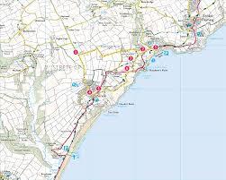 Plymouth England Map by Blackpool Sands U0026 Strete Print Walk South West Coast Path