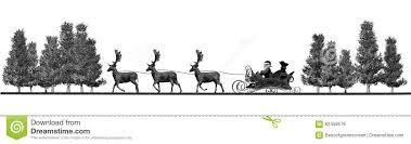 panorama santa claus sleigh rendeers trees stock