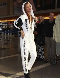 rihanna jumpsuit so 90s rihanna takes us back to the 90s in dkny jumpsuit photo