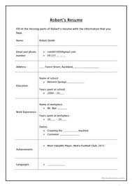 Activity Resume 7 Free Esl Curriculum Vitae Worksheets