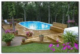 above ground oval pool deck designs decks home decorating
