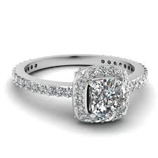 engagement rings cushion cut white gold cushion white diamond engagement wedding ring in pave