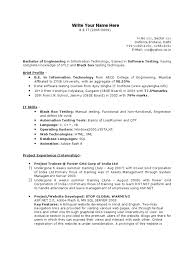 Experienced Resume Samples Software Testing Resume Samples For 1 Year Experience Free