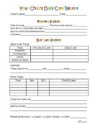 toddler day care report daily activities free printable and