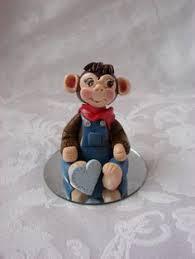 sock monkey birthday cake topper 45 inch fondant by spiritmama