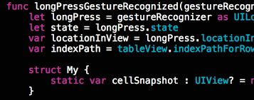 drag and drop cells in swift using an uilongpressgesturerecognizer