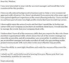 event manager cover letter example learnist org