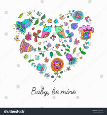 cute doodle heart floral background space stock vector 368400584
