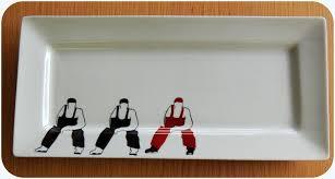 porcelaine peinte main plat rectangulaire en porcelaine peint main décor aux