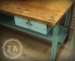 vintage industrial butcher block steel work bench desk kitchen