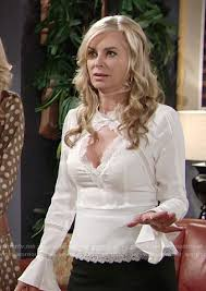 ashley s hairstyles from the young and restless wornontv ashley s white lace trim top with cutout on the young
