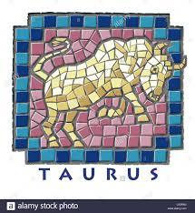 star sign taurus mosaic illustration of golden bull on hind legs