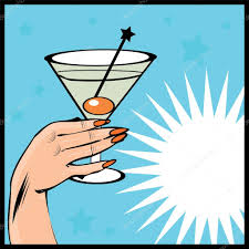 martini cartoon clip art vintage background cocktail with hand pop art comic style