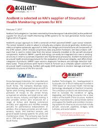 Smarter Technologies Acellent U2013 Kai Press Release U2013 Acellent Technologies Inc