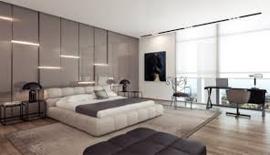 apartment modern and spacious bedroom design platform with eye